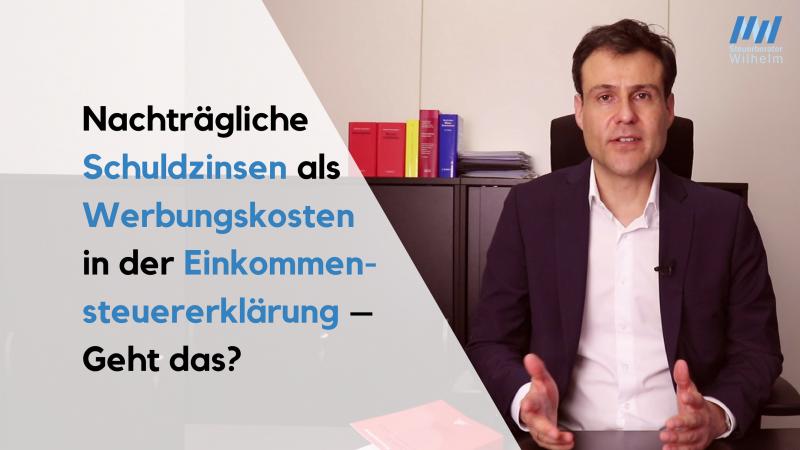 2018-07-21 Nachträgliche Werbungskosten bei V+V - Steuerberater Matthias Wilhelm Wiesbaden